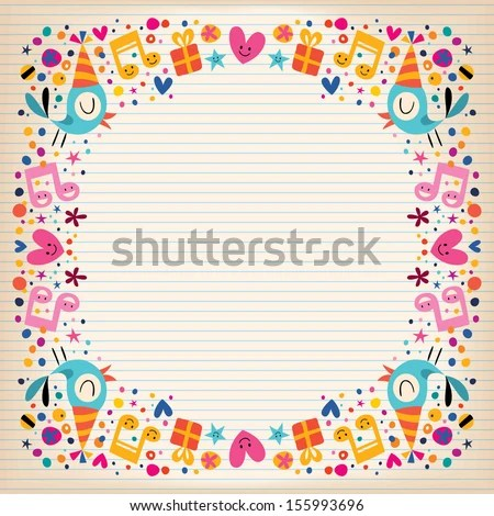 Happy Birthday Border Lined Paper Card Stock Vector HD (Royalty Free - lined border paper