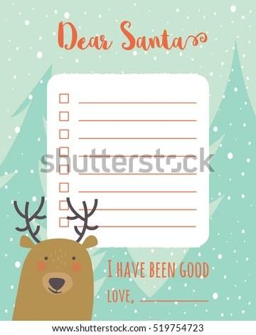 Cartoon Christmas Wish List Christmas Trees Stock Photo (Photo