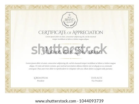Certificate Template Diploma Currency Border Award Stock Vector - Award Paper Template
