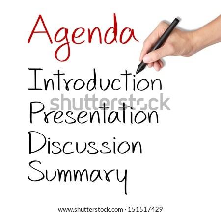 Business Hand Writing Meeting Agenda Stock Photo 151517429 - agenda writing