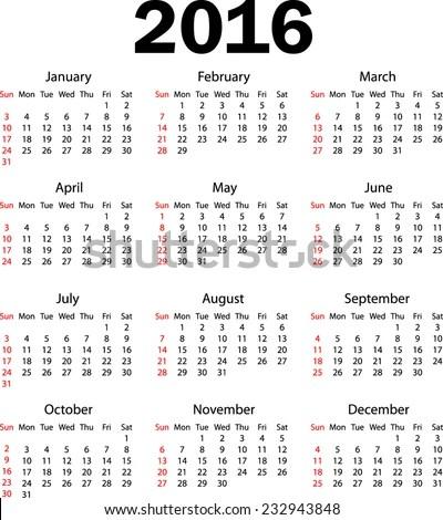Weeks Calendar 2016   Calendar Template 2016