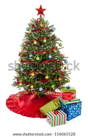 Real Decorated Christmas Tree Skirt Garland Stock Photo 154470719 - small decorated christmas trees