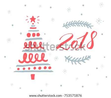 2018 New Year Greeting Card Template Stock Vector 753571876