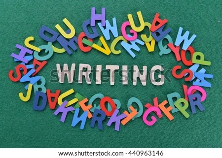 WRITING Word On Green Background Alphabets Stock Photo (Edit Now - word alphabets