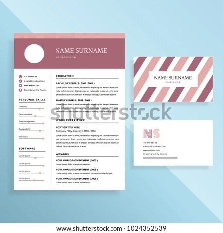 Professional Resume CV Business Card Template Stock Photo (Photo - resume business cards