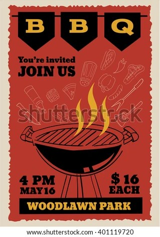 BBQ Party Invitation Flyer Outline Doodle Stock Vector (2018 - Flyer Outline