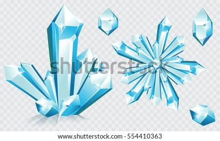 Collection Blue Ice Crystals Crystal Snowflake Stock Vector