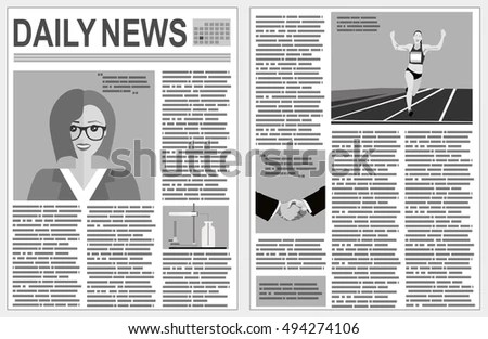 Graphical Design Newspaper Template Infographic Stock Vector