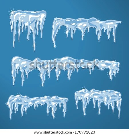 Ice Sheets Icicles Snowflakes Vector Illustration Stock Vector