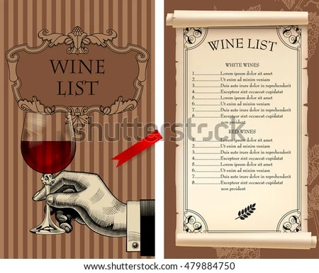 Wine List Template Retro Drawing Hand Stock Vector (Royalty Free