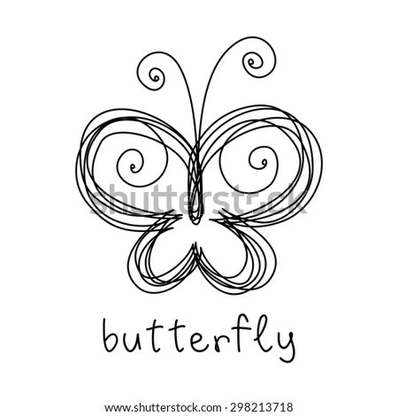 Vector Butterfly Doodle Icon Sign Logo Stock Vector 275205305 - butterfly template