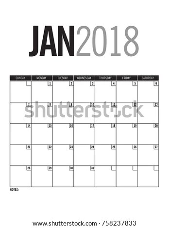 January 2018 Blank Calendar Page Stock Vector 758237833 - Shutterstock