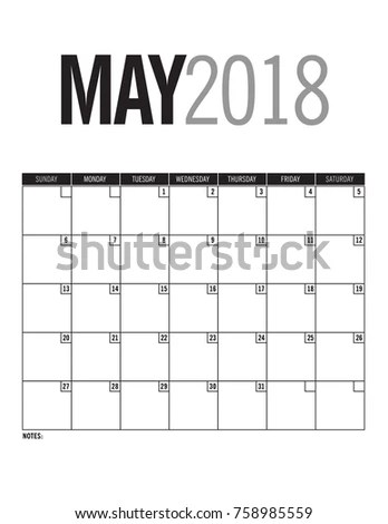 May 2018 Blank Calendar Page Dates Stock Vector 758985559 - Shutterstock