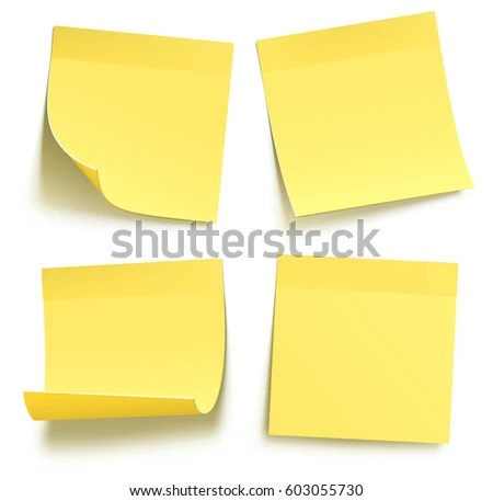 Four Blank Yellow Sticky Notes Isolated Stock Vector 603055730