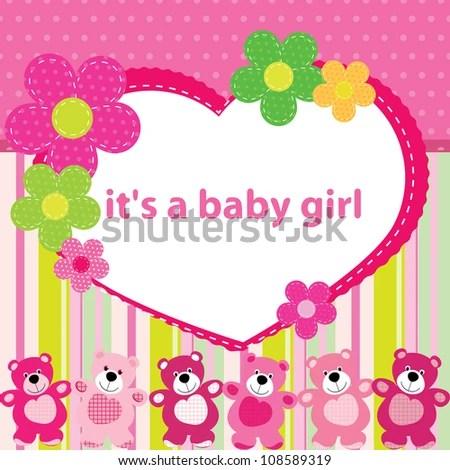 Greeting Card Birth Baby Girl Stock Vector (2018) 108589319 - Birth Of Baby Girl