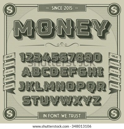 Vintage Money Font Shadow Retro 3 D Stock Vector 348013106 - Shutterstock