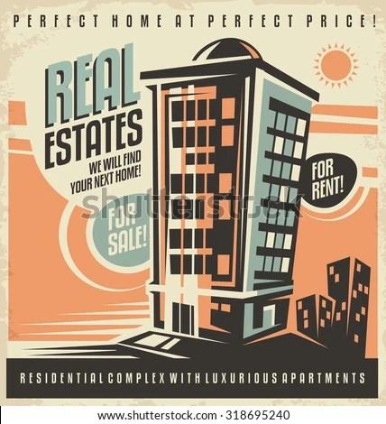 Real Estates Vintage Ad Design Concept Stock Vector 318695240