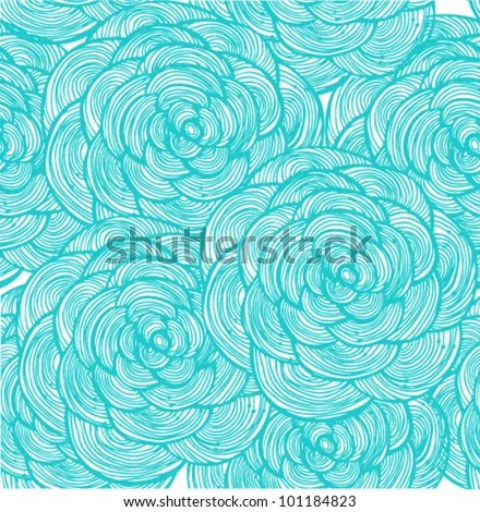 Turquoise Linear Flowers Background Stock Vector (2018) 101184823