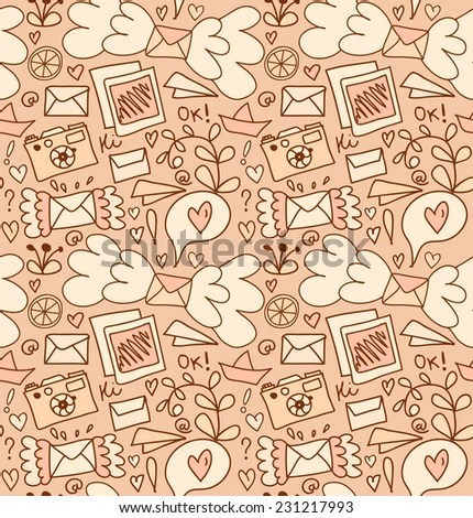 Seamless Mail Pattern Cute Post Background Stock Vector 231217993 - mail background