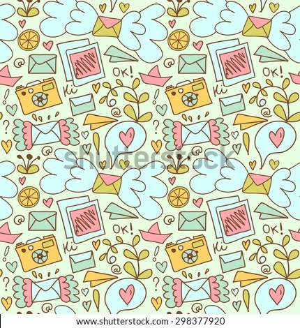 Seamless Mail Pattern Cute Doodle Background Stock Vector HD