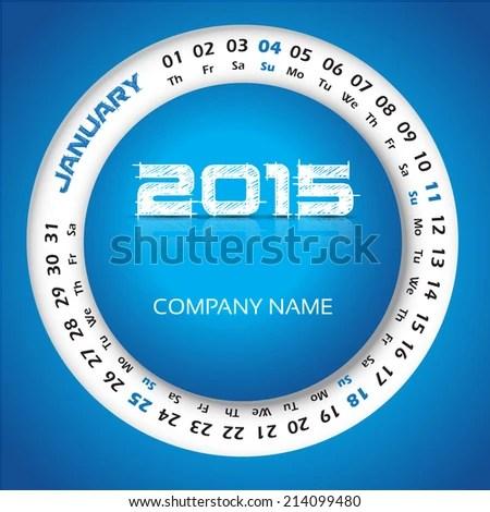 2015 Year Circular Calendar Business Wall Stock Vector 214099480 - circular calendar
