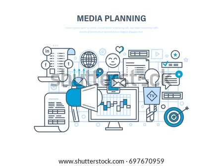 Media Planning Digital Marketing Advertising Promotion Stock - advertising plan