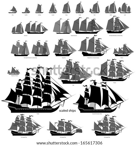 Vector Ships Set Separate Editable Elements Stock Vector 165617306 - types of ships