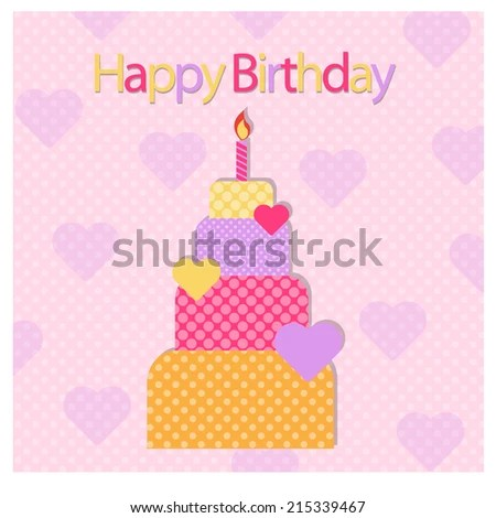 Greeting Card Template Cute Birthday Cake Stock Vector 485331268 - birthday cake card template