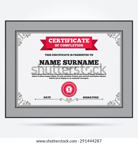 Certificate Completion Second Place Award Sign Stock Vector - first place award template