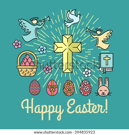 Easter Thin Line Greeting Card Poster Stock Vector 394835935 - easter greeting card template
