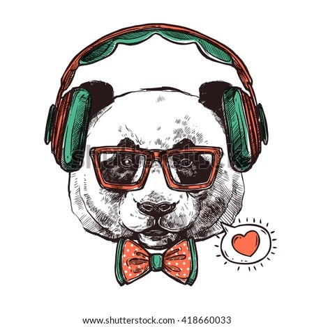 Girl Headset Wallpaper Cool Bear Illustration Tshirt Other Uses Stock Vector