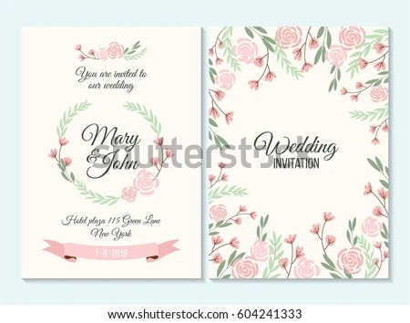 Baby Girl Wallpaper Borders Pink And Purple Purple Wedding Invitation Thank You Card Stock Vector