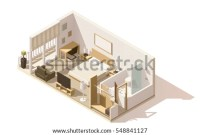 Vector Isometric Low Poly Living Room Stock Vector ...