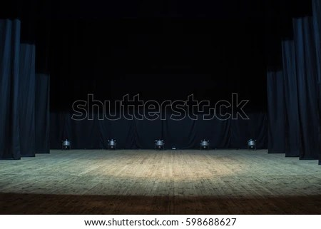 3d Stone Style Wallpaper Empty Stage Theater Lit By Spotlights Stock Photo