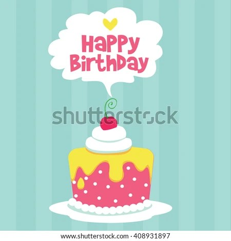 Happy Birthday Card Design Template Image Stock Vector 402743602 - birthday cake card template