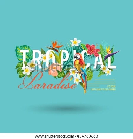 Tropical Bird Flowers Graphic Design Tshirt Stock Vector