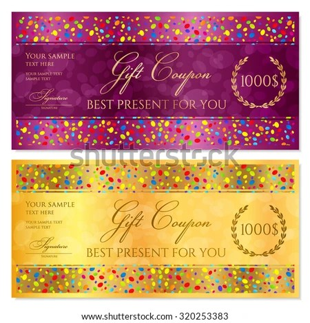 Gift Certificate Voucher Coupon Template Layout Stock Vector - money coupon template