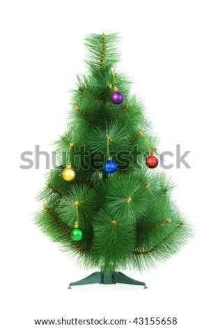 Small Decorated Christmas Tree Isolated On Stock Photo 112057889 - small decorated christmas trees