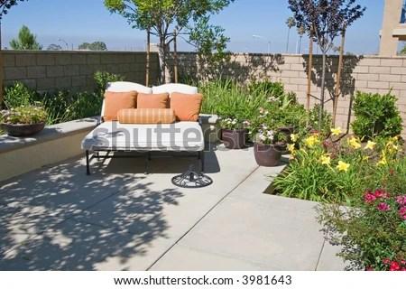 Backyard Oasis Retreat Suburban Stock Photos, Backyard
