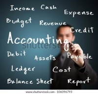 business man writing accounting concept - stock photo
