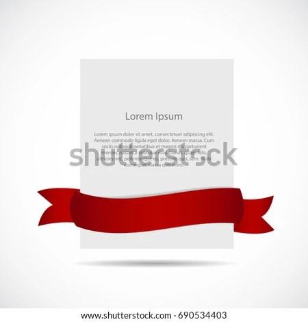 White Blank Card Template Ribbon Illustration Stock Illustration - blank card template