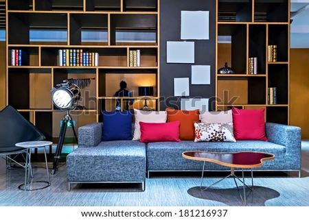 Private loft office bookcase leather sofa stock photo