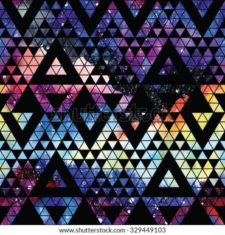 Cute Tribal Print Wallpaper Galaxy Seamless Pattern Triangles Geometric Shapes Stock