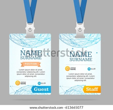 Event Guest Id Card Set Lanyard Stock Vector 507074419 - Shutterstock - guest card template