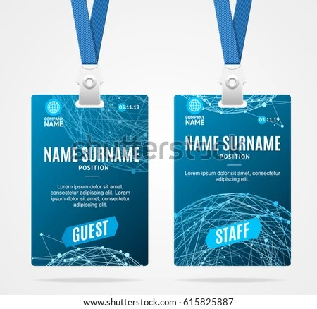 Event Staff Press Id Cards Set Stock Vector 635277989 - Shutterstock - event card template