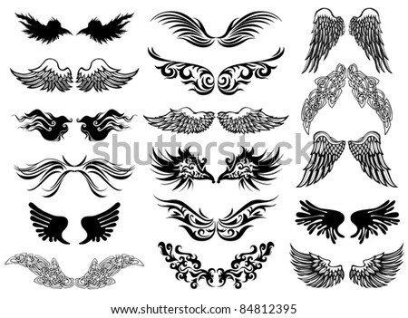 Wings tattoo vector set by Miro art studio, via ShutterStock - bat template