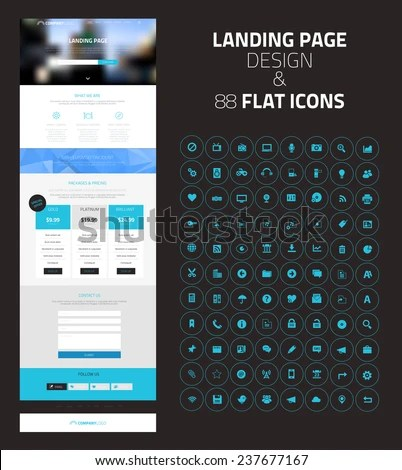Responsive Landing Page One Page Website Stock Vector (Royalty Free