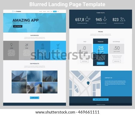 Material Design Responsive Landing Page One Stock Vector (2018