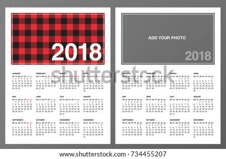Two 2018 Calendar Templates Lumberjack Patterned Stock Photo (Photo