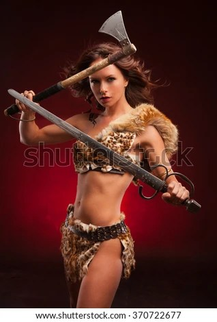 Fantasy Beautiful Girl Wallpaper Portrait Mystic Elf Woman Axe Tattoo Stock Photo Royalty